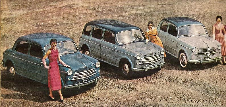 Various versions of the 1100/103 (spring 1955). From right to left: 103 Berlina (sedan), Familiare (estate), Berlina TV (Turismo Veloce).